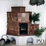 PV1 - Pec teplovzdušná s vykurovaním na spôsob teplovzdušného krbu.