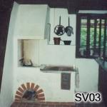 SV3 - Šporák na bielo  Vľavo otvorený krb (realizácia Zázriva)