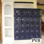 PV8 - Pec kombinovaná v jednej izbe teplovzdušná + v druhej sálavá.