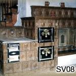 SV8 - Šporák kachľový s kombináciou krbu  (realizácia u JUDr. Kuffa na chate - Svederník)
