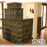 PV25 - Pec sálavá, prechádza cez stenu do druhej miestnosti, stavaná v Stupave.