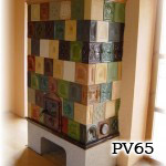 PV65    Pec klasická sálavá, stavaná z rôznych kachlíc, realizácia Humenné.