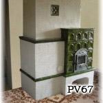 PV67    Pec sálavá originál, kombinácia glazované kachlice a na hladko.
