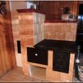 """sv88 - Kuchyňský šporák, vstavaný na pevno, tzv. """"stolový"""" s prípeckom - s obložením stienky."""